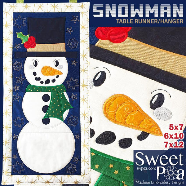 Snowman Wall Hanging or Table Runner 5x7 6x10 8x12 - Sweet Pea In The Hoop Machine Embroidery Design