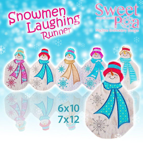 Snowmen Laughing Table Runner 6x10 7x12 - Sweet Pea In The Hoop Machine Embroidery Design