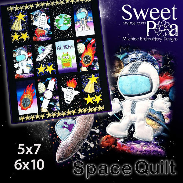 Space Quilt 5x7 6x10 - Sweet Pea In The Hoop Machine Embroidery Design