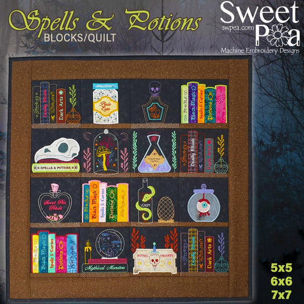 Spells and Potions Quilt 5x5, 6x6 and 7x7 - Sweet Pea In The Hoop Machine Embroidery Design