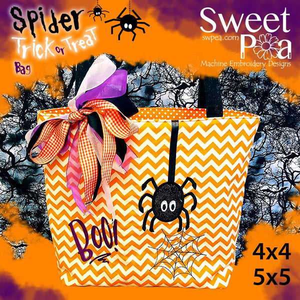 Spider Trick or Treat Tote Bag 4x4 and 5x5 - Sweet Pea In The Hoop Machine Embroidery Design