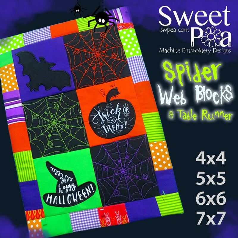 Spiders Web Quilt Blocks and Table Runner 4x4 5x5 6x6 7x7 - Sweet Pea In The Hoop Machine Embroidery Design