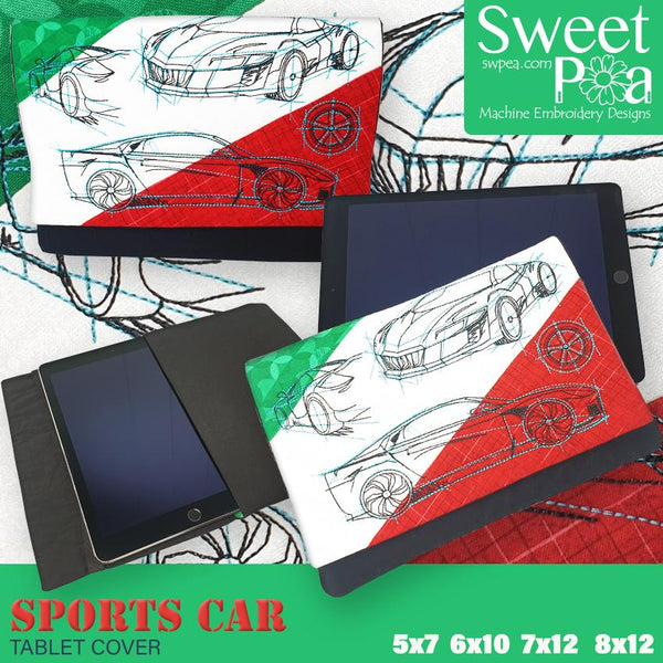 Sports Car Tablet Cover 5x7 6x10 7x12 and 8x12 - Sweet Pea In The Hoop Machine Embroidery Design