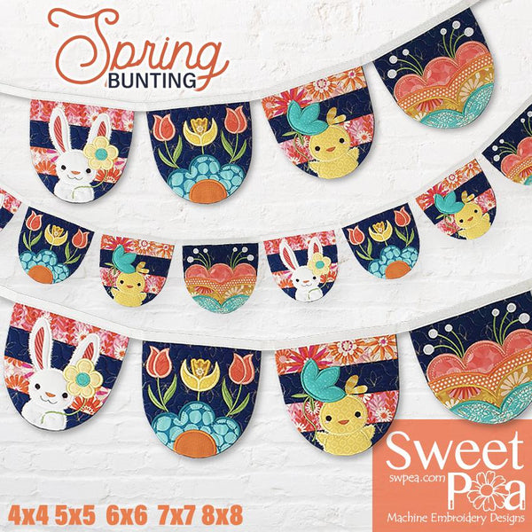 Spring Bunting 4x4 5x5 6x6 7x7 8x8 - Sweet Pea In The Hoop Machine Embroidery Design