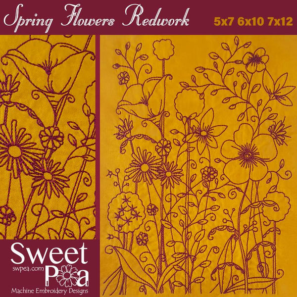 Spring Flowers Redwork 5x7 and 6x10 - Sweet Pea In The Hoop Machine Embroidery Design