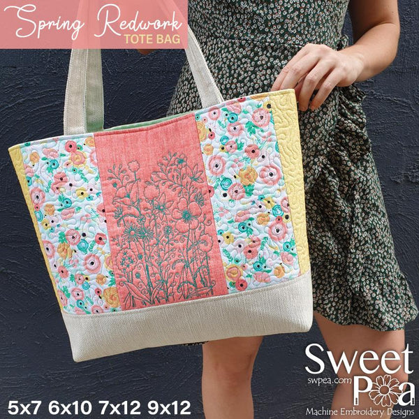 Spring Redwork Tote Bag 5x7 6x10 7x12 9x12 - Sweet Pea In The Hoop Machine Embroidery Design