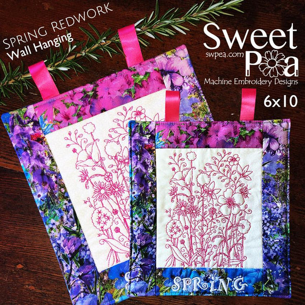 Spring Flower Redwork Wall Hanging with Border Design for the 6x10 - Sweet Pea In The Hoop Machine Embroidery Design