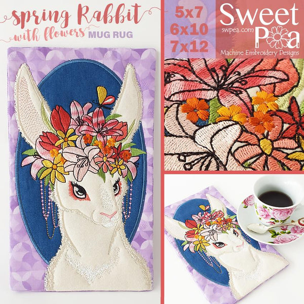 Spring Rabbit and Flowers Mug Rug 5x7 6x10 and 7x12 - Sweet Pea In The Hoop Machine Embroidery Design