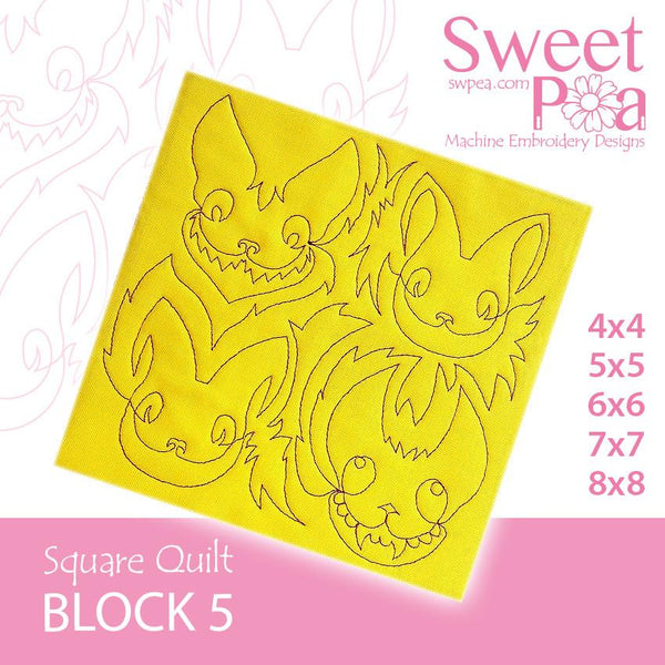 Square Quilt Block 5 Crazy Cats 4x4 5x5 6x6 7x7 8x8 - Sweet Pea In The Hoop Machine Embroidery Design