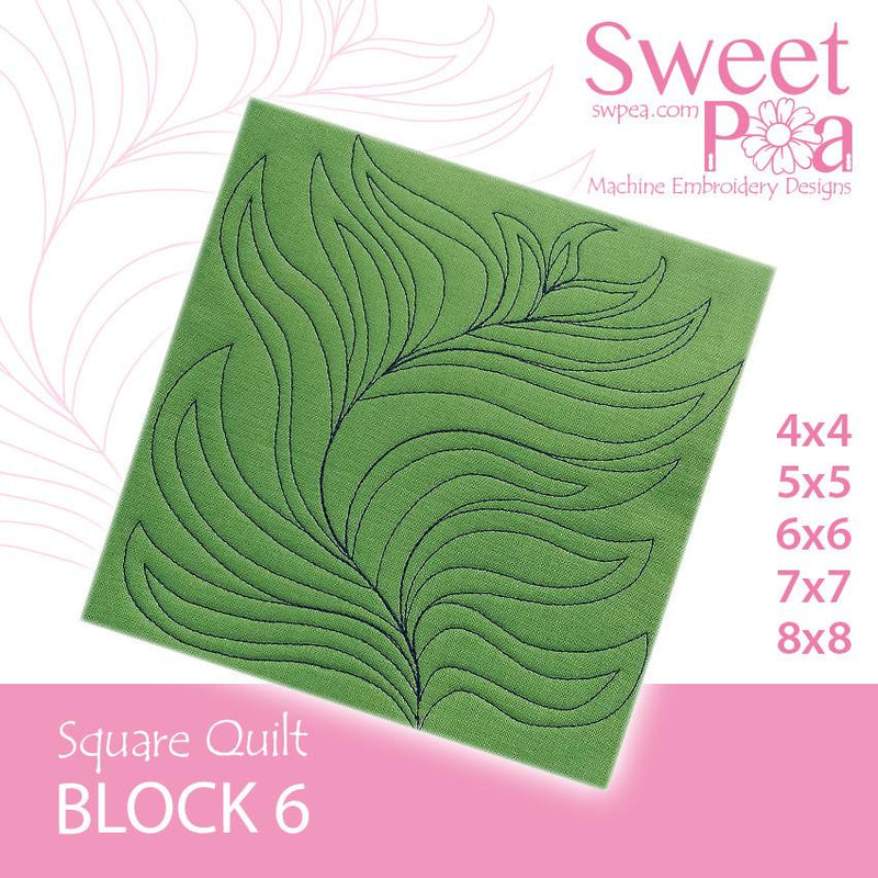 Square Quilt Block 6 Feather 4x4 5x5 6x6 7x7 8x8 - Sweet Pea In The Hoop Machine Embroidery Design