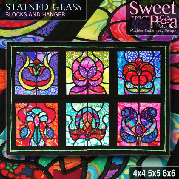 Stained Glass Blocks and Runner/Hanger 4x4 5x5 6x6 - Sweet Pea In The Hoop Machine Embroidery Design