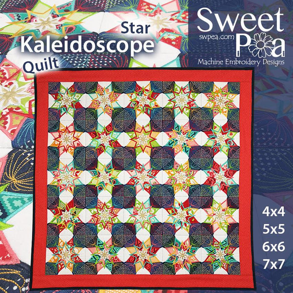 Star Kaleidoscope Quilt 4x4 5x5 6x6 7x7 - Sweet Pea In The Hoop Machine Embroidery Design