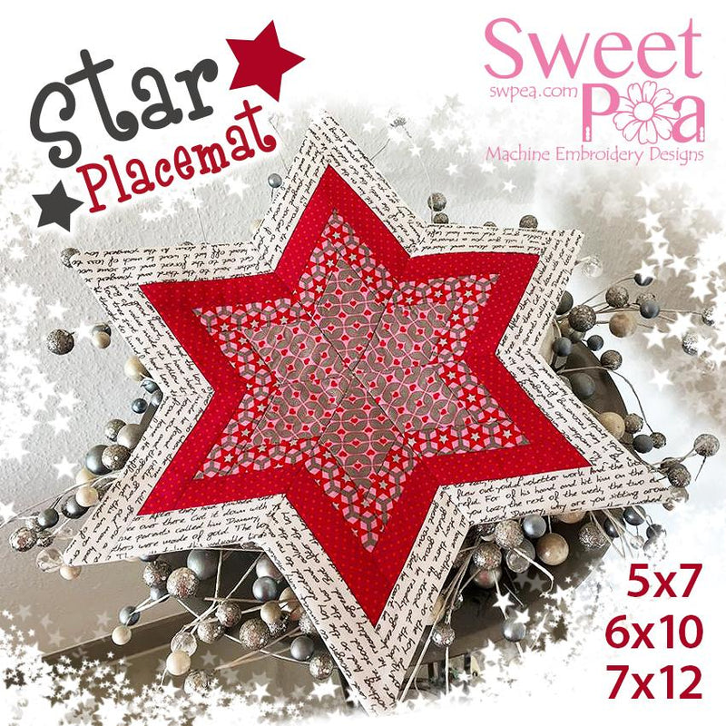 Star Placemat 5x7 6x10 7x12 - Sweet Pea In The Hoop Machine Embroidery Design