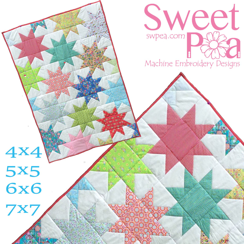 Star Blocks and Quilt 4x4 5x5 6x6 7x7 - Sweet Pea In The Hoop Machine Embroidery Design