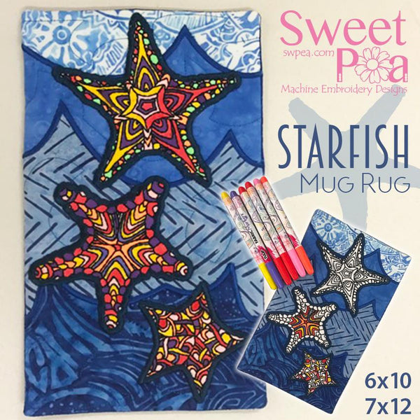 Starfish Colouring in Mugrug 6x10 and 7x12 - Sweet Pea In The Hoop Machine Embroidery Design