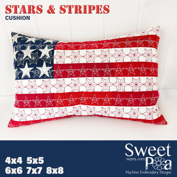 Stars and Stripes Cushion 4x4 5x5 6x6 7x7 8x8 - Sweet Pea In The Hoop Machine Embroidery Design
