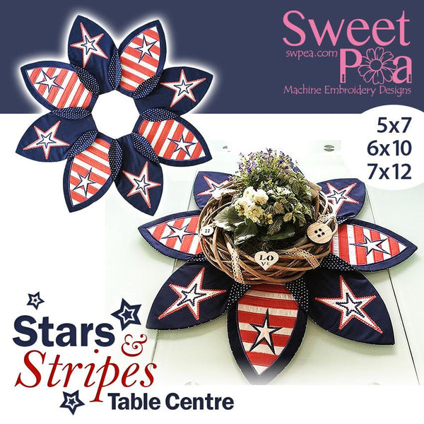 Stars and Stripes Table Centre 5x7 6x10 7x12 - Sweet Pea In The Hoop Machine Embroidery Design