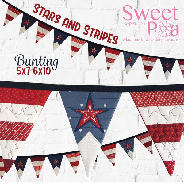 Stars and Stripes Bunting 5x7 6x10 - Sweet Pea In The Hoop Machine Embroidery Design
