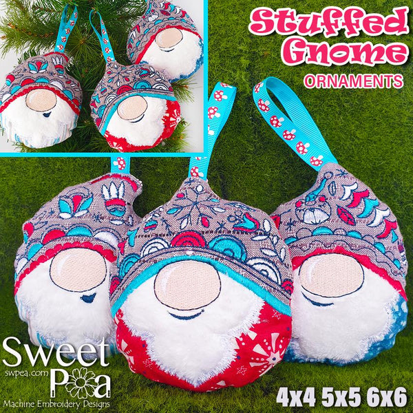 Stuffed Gnome Ornaments 4x4 5x5 6x6 - Sweet Pea In The Hoop Machine Embroidery Design