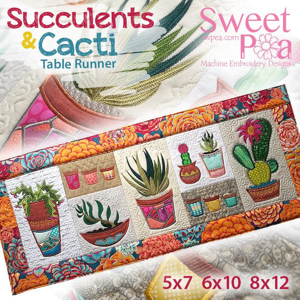 Succulent and Cacti Table Runner 5x7 6x10 8x12 - Sweet Pea In The Hoop Machine Embroidery Design