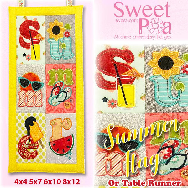 Summer Flag or Table Runner 4x4 5x7 6x10 8x12 - Sweet Pea In The Hoop Machine Embroidery Design