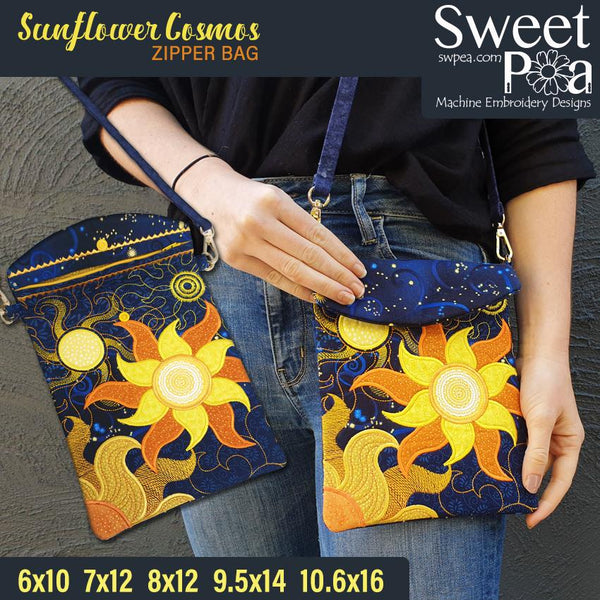 Sunflower Cosmos Zipper Bag 6x10 7x12 8x12 9.5x14 and 10.6x16 - Sweet Pea In The Hoop Machine Embroidery Design