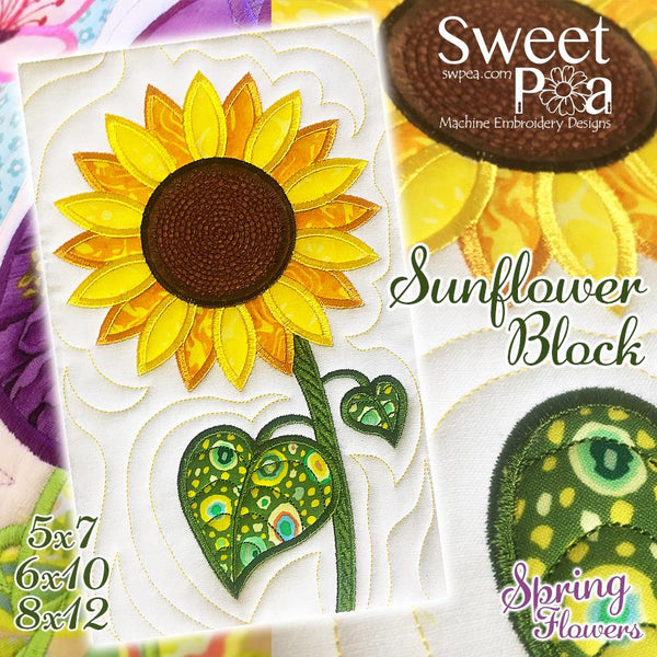 Sunflower Flower Block Add-on 5x7 6x10 8x12 - Sweet Pea In The Hoop Machine Embroidery Design