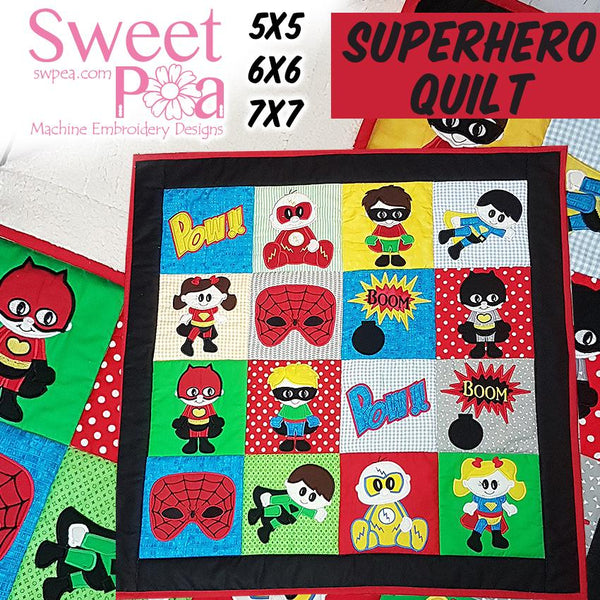 Superhero Quilt 5x5 6x6 7x7 - Sweet Pea In The Hoop Machine Embroidery Design