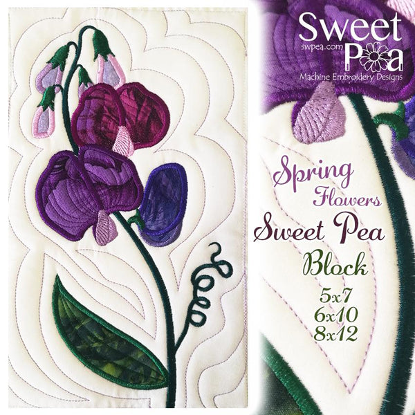 Sweet Pea Block Add-on 5x7 6x10 8x12 - Sweet Pea In The Hoop Machine Embroidery Design