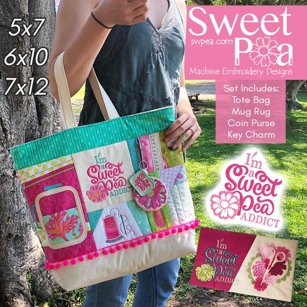 Sweet Pea Addicts Set - Sweet Pea In The Hoop Machine Embroidery Design