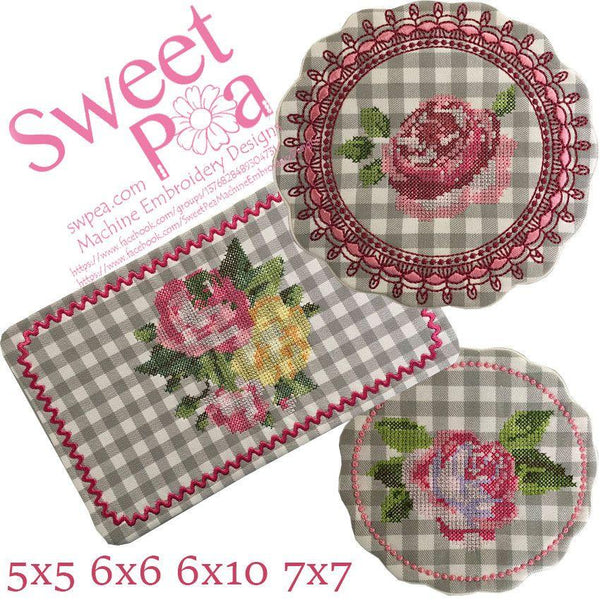 Sweet Roses Cross Stitch Mugrug Set 5x5 6x6 6x10 7x7 - Sweet Pea In The Hoop Machine Embroidery Design