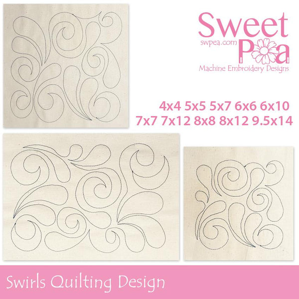 Swirls Quilting Design - Sweet Pea In The Hoop Machine Embroidery Design