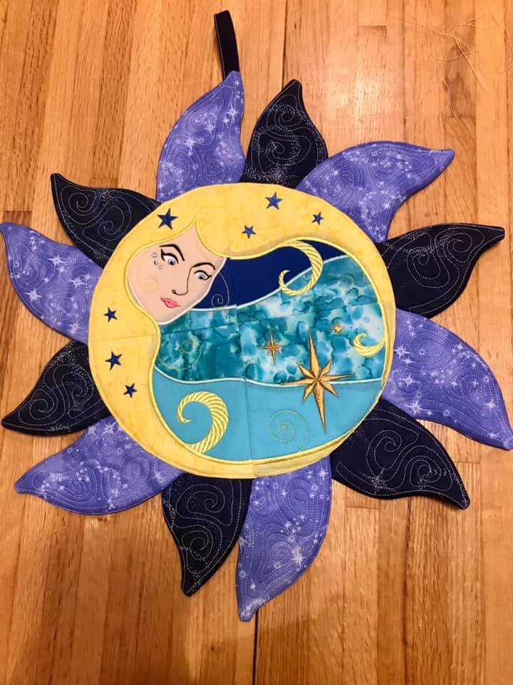 Lady of the Moon or Sun Wall Hanging 4x4 5x5 6x6 7x7
