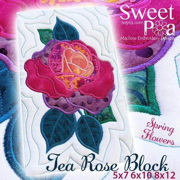 Tea Rose Flower Block Add-on 5x7 6x10 8x12 - Sweet Pea In The Hoop Machine Embroidery Design