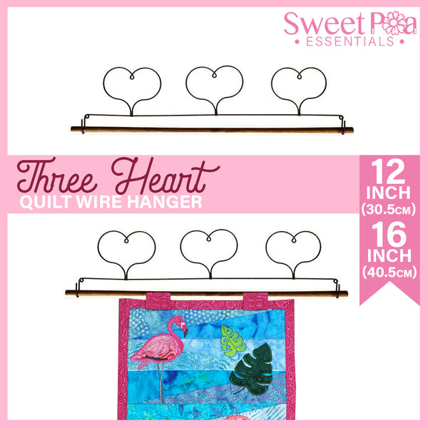 Three Heart Quilt Wire Hanger 12in or 16in