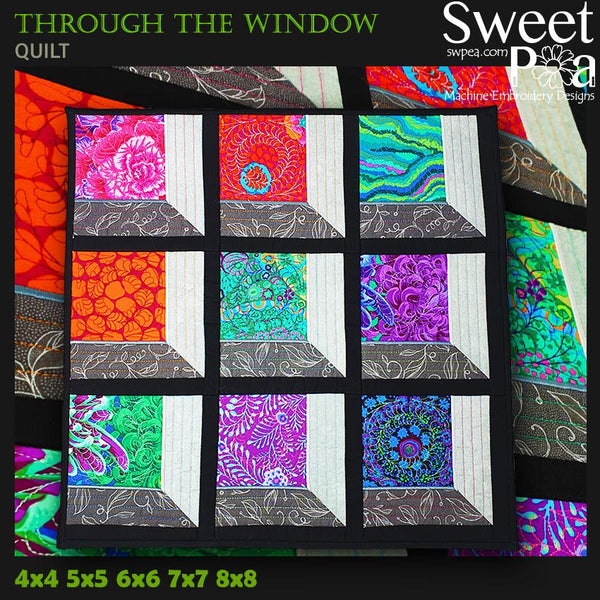 Through the Window Quilt 4x4 5x5 6x6 7x7 8x8 - Sweet Pea In The Hoop Machine Embroidery Design