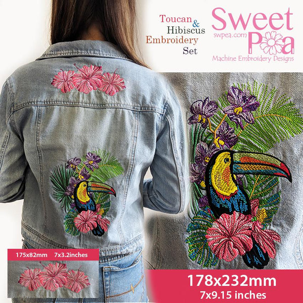 Toucan and Hibiscus Embroidery Set - Sweet Pea In The Hoop Machine Embroidery Design