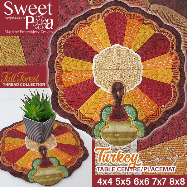 Turkey Table Centre or Placemat 4x4 5x5 6x6 7x7 and 8x8 - Sweet Pea In The Hoop Machine Embroidery Design