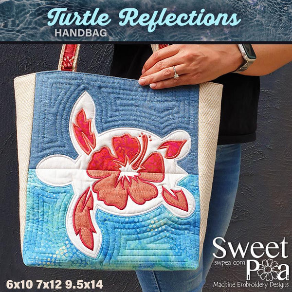 Turtle Reflections Bag 6x10 7x12 and 9.5x14 - Sweet Pea In The Hoop Machine Embroidery Design