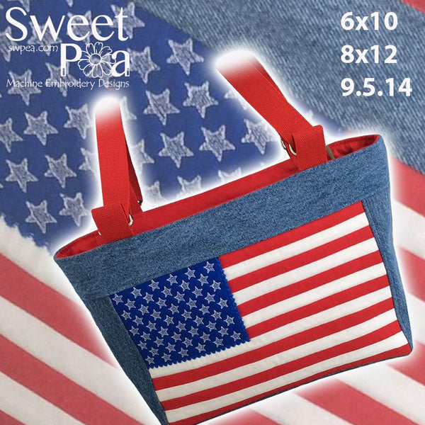 USA Flag Tote 6x10 8x12 9.5x14 - Sweet Pea In The Hoop Machine Embroidery Design