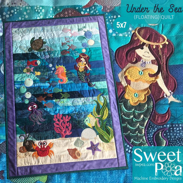 Under The Sea (Floating) Quilt 5x7 - Sweet Pea In The Hoop Machine Embroidery Design