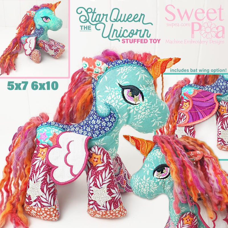 Star Queen the Unicorn Stuffed Toy 5x7 and 6x10 - Sweet Pea In The Hoop Machine Embroidery Design