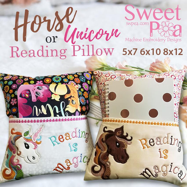 Horse / Unicorn Reading Pillow 5x7,  6x10 and 8x12 - Sweet Pea In The Hoop Machine Embroidery Design