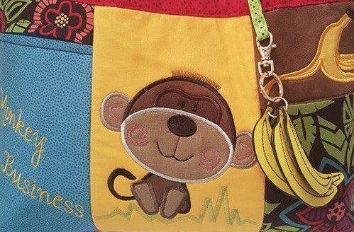 Monkey Nappy Diaper Bag 5x7 6x10 7x12 - Sweet Pea In The Hoop Machine Embroidery Design