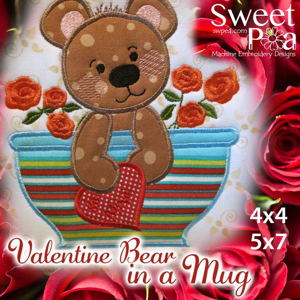 Valentines Bear in a mug Applique in the hoop 4x4 and 5x7 machine embroidery design. - Sweet Pea In The Hoop Machine Embroidery Design