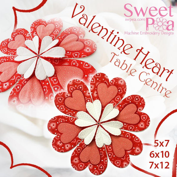 Valentines hearts table centre 5x7 6x10 7x12 in the hoop machine embroidery design - Sweet Pea In The Hoop Machine Embroidery Design