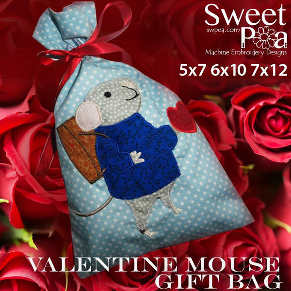 Valentine Mouse Gift Bag 6x10 7x12 - Sweet Pea In The Hoop Machine Embroidery Design