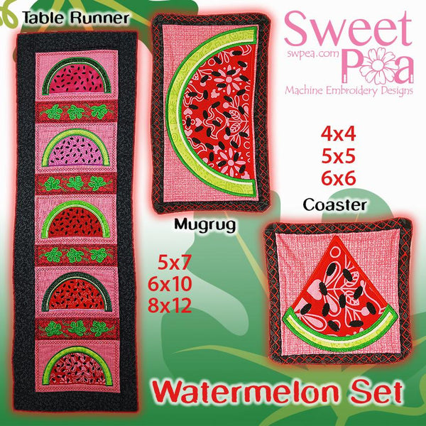 Watermelon table runner, mugrug, coaster set 4x4 5x7 6x10 8x12 in the hoop machine embroidery design - Sweet Pea In The Hoop Machine Embroidery Design