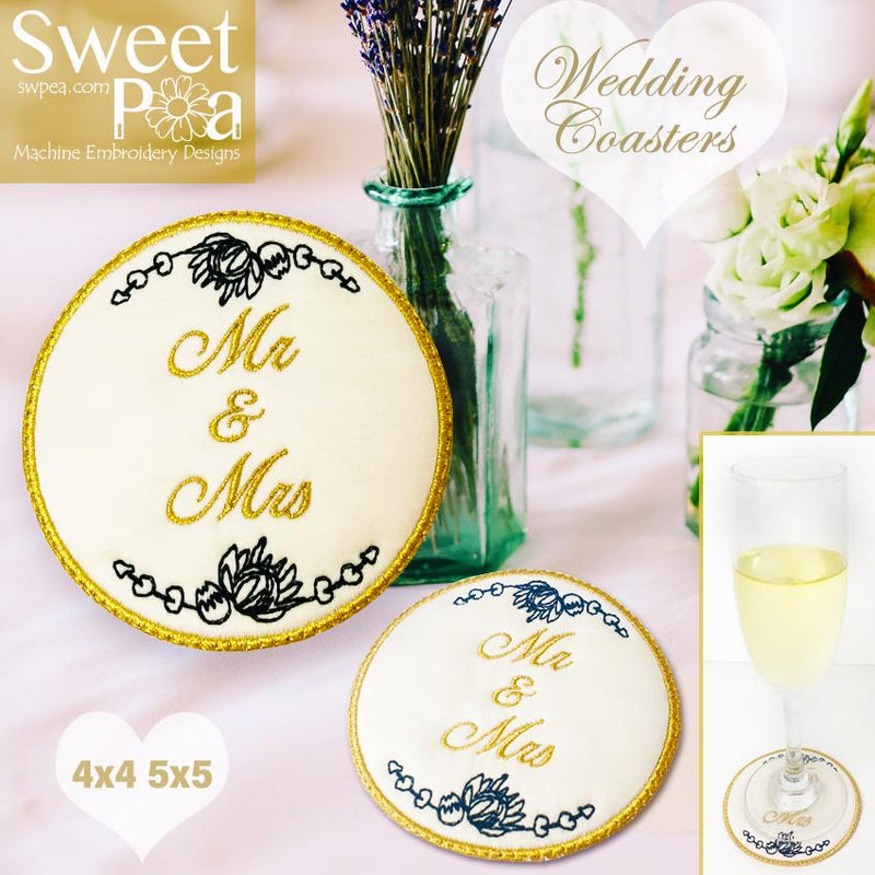 Wedding Coasters 4x4 5x5 - Sweet Pea In The Hoop Machine Embroidery Design