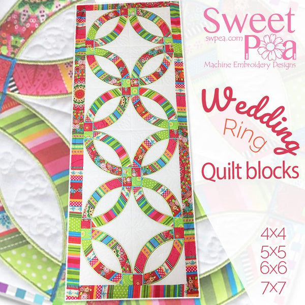 Wedding rings quilt and blocks 4x4 5x5 6x6 7x7 in the hoop machine embroidery design - Sweet Pea In The Hoop Machine Embroidery Design